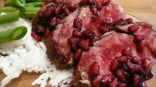 Red roast pork with POM glaze