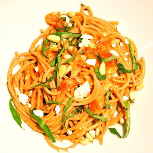 Spaghettini pine nuts lemon feta