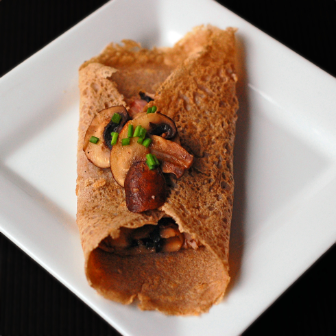 Buckwheat galette with mushrooms ham and emmenthal