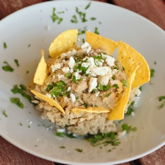 Mexican white bean mash served with tortilla chips