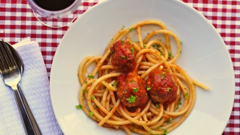 Spaghetti and from-scratch meatballs