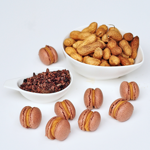 cocoa nib macaron with a peanut butter ganache