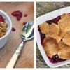 Apple cranberry crumble with lemon custard and berry cobbler