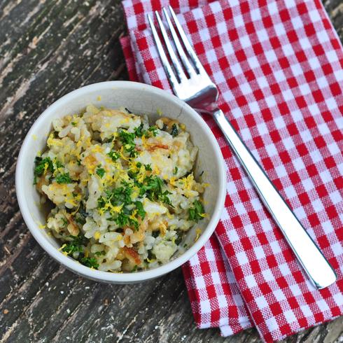 Garlicky spinachy creamy rice Dorie Greenspan