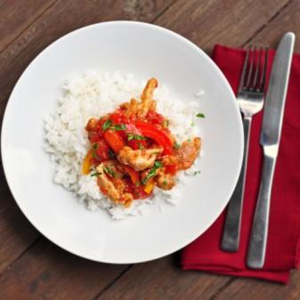 sweet chili chicken with white rice recipe
