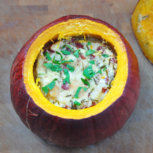 Pumpkin stuffed with everything good Dorie Greenspan on eatlivetravelwrite.com