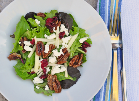 Jacques Pepin Composed Salad of Greens, Goat Cheese, and Caramelized Pecans recipe