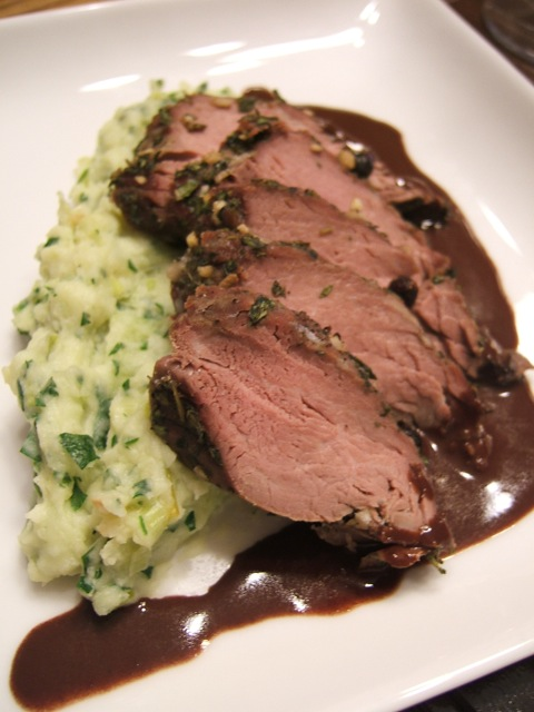 Maple Juniper Venison Loin with Chocolate Infused Red Wine Jus, Leek and Potato Mash