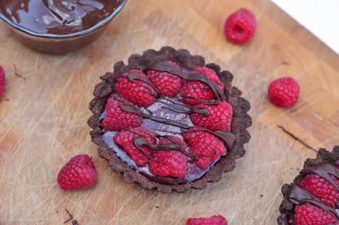 Individual raspberry-chocolate curd tartlets