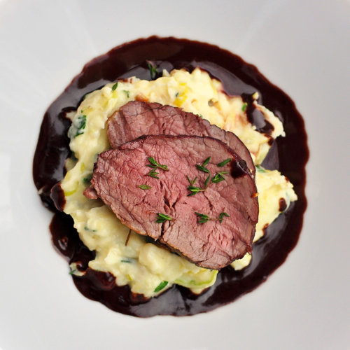 Maple Juniper Beef tenderloin with Chocolate Infused Red Wine Jus ...