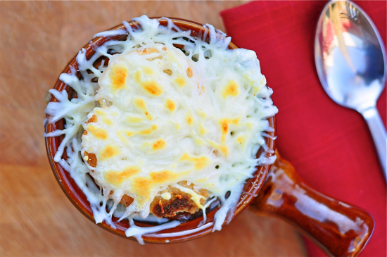 Dorie Greenspan cheese topped onion soup