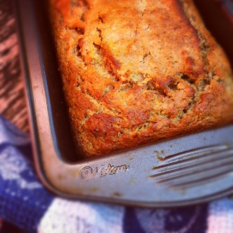 Banana bread with granola and LIberté Greek yogurt in a loaf tin