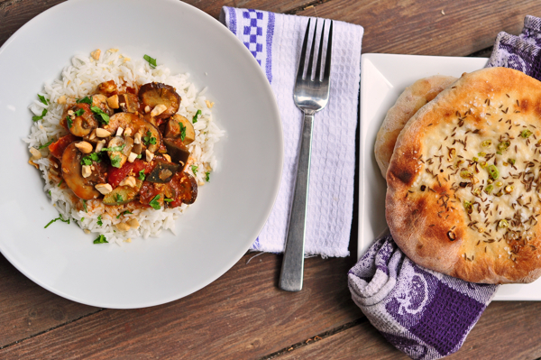 Mushroom and cashew curry with Oasis naan on eatlivetravelwrite.com