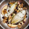 caramelized endives and apples with raisins and walnuts