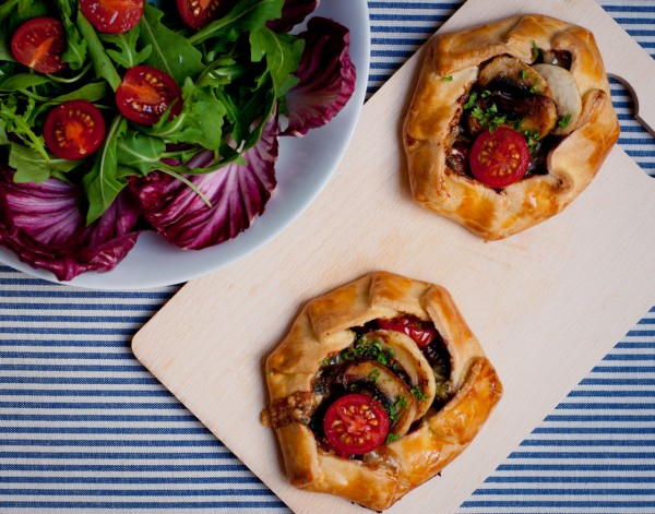 Mushrooms Canada GO PINK 2012 official recipe mini mushroom galettes with blue cheese walnuts and tomatoes