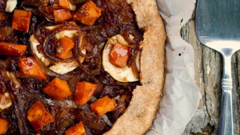 Sweet potato galette with balsamic-caramelized onions and goat cheese