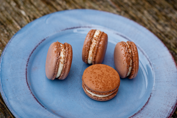 Mc Cormick Flavor Forecast chocolate basil macarons with passion fruit cream cheese filling