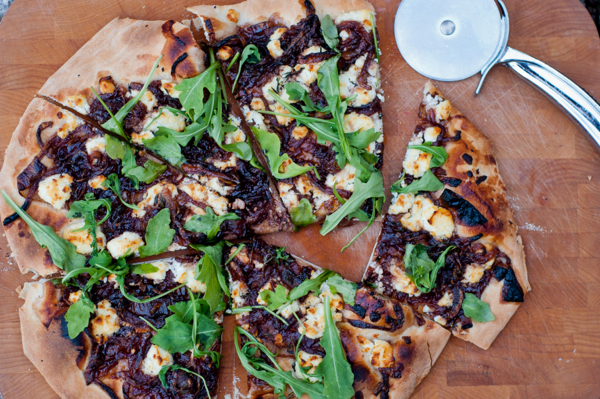 Baking with Julia Tuesdays with Dorie onion confit pizza with arugula and goat cheese