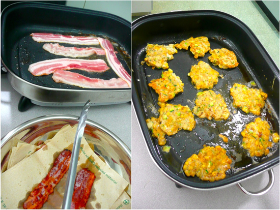 Frying bacon for buckwheat corn and zucchini fritters from Supergrains by Chrissy Freer