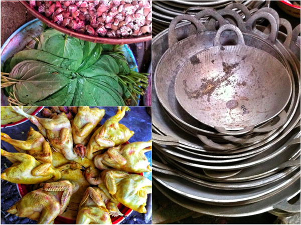 Betel nuts and leaves chickens pans at Thandwe market Burma