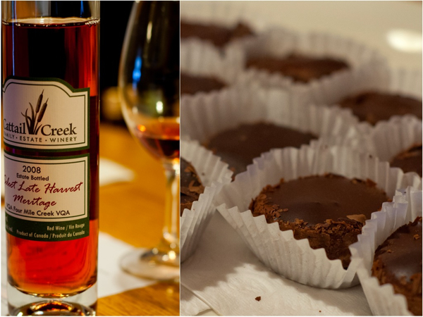 CATTAIL CREEK ESTATE WINERY 2008 Select Late Harvest Meritage Lindt Dark Chocolate Cheesecake
