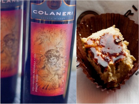 COLANERI Estate Winery 2008 Virtuoso Pinot Noir Mocha Semifreddo Drizzled with Chocolate