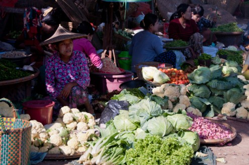 Stall holders Thandwe market Burma