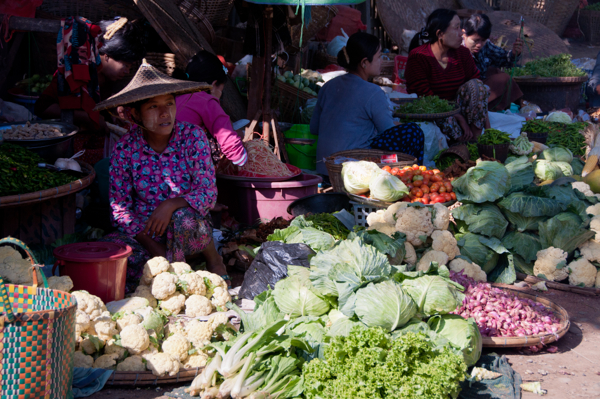Stall holders Thandwe market Burma