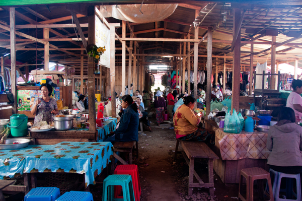 Eating at Thandwe market Burma