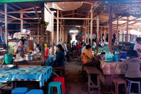 Eating at Thandwe market Burma