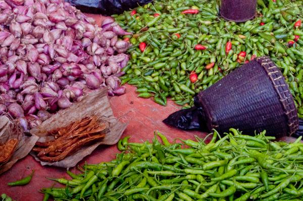 Chilies and shallots at Thandwe market Burma