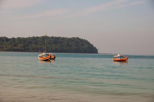 Boats on sea Ngapali Beach Burma