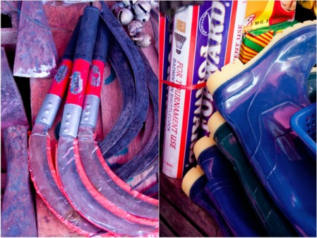 Knives and boots at Thandwe Market Burma