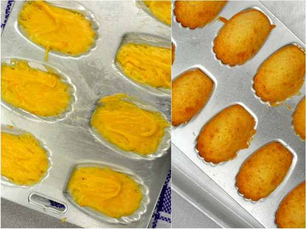 Madeleines before and after baking