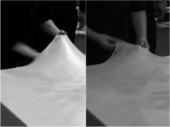 Pulling Strudel dough at Culturelicious Toronto