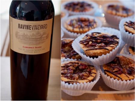 Ravine Vineyard Estate Winery 2011 Cabernet Franc Chocolate Pecan Tart