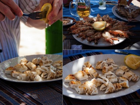 Squid and sea prawns Ngapali Beach