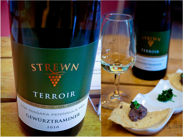 Strewn Winery 2010 Gewürztraminer Terroir Nacho Topped with Black Bean, Tomatillo and Spicy Dark Chocolate Mole
