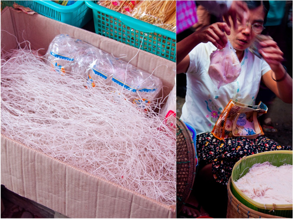 Vermicelli rice noodles at the Thandwe market