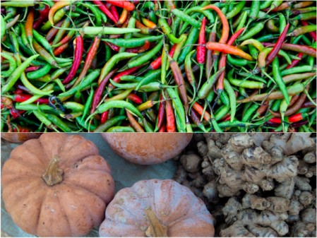 Chilies and pumpkins and ginger Kalaw Market