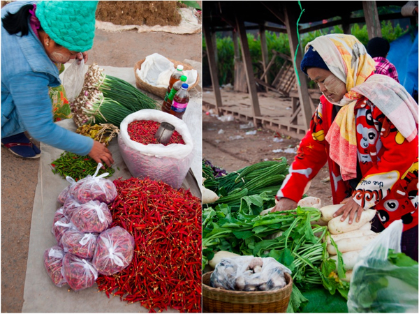 Chilies and turnips at Kalaw Market