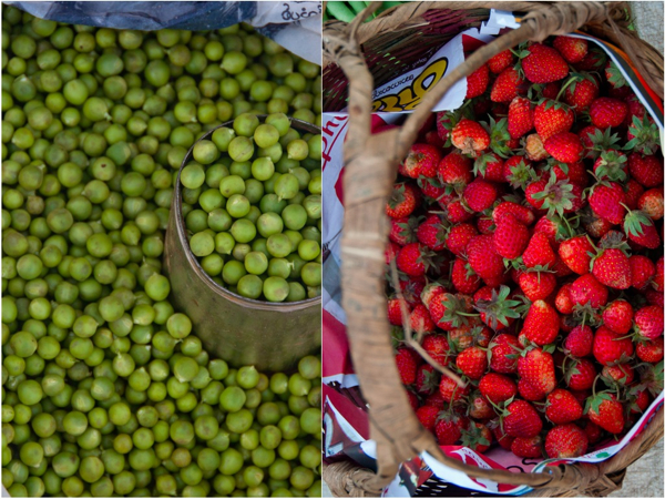 English peas and strawberries Kalaw market