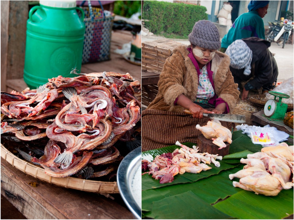 Fish and chicken Kalaw morning market