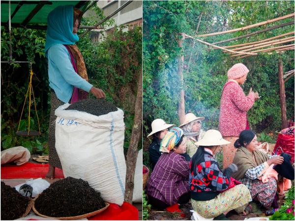 Tea seller and chatting at Kalaw morning market