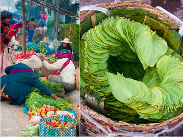 Veggies and betel leaves at Kalaw Market