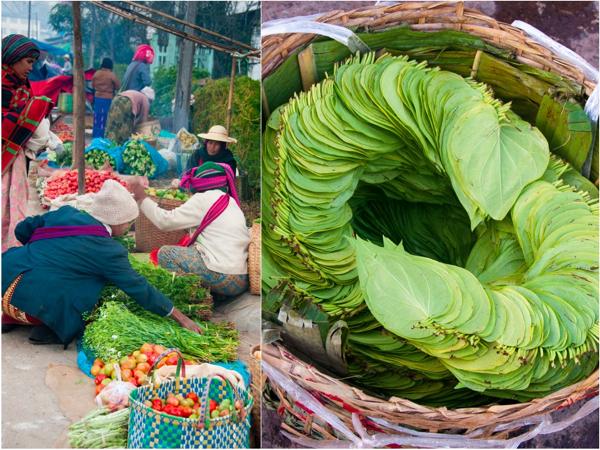 Veggies and betel leaves at Kalaw Market