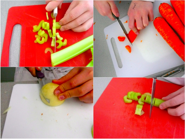 cooking with kids chopping carrots celery and onions