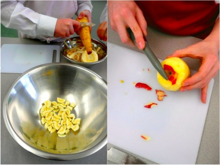 cooking with kids chopping parsnips and apples