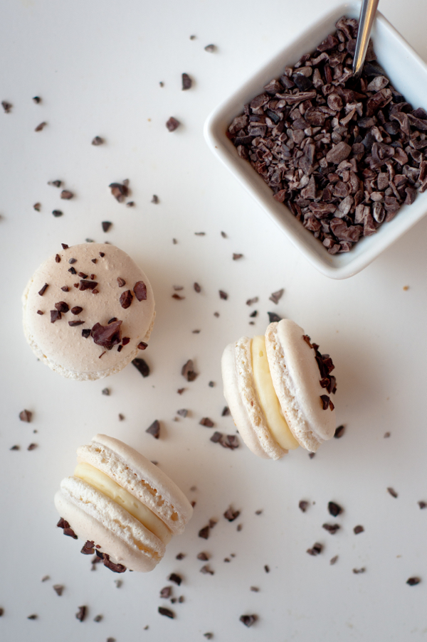 White chocolate and cocoa nib macarons