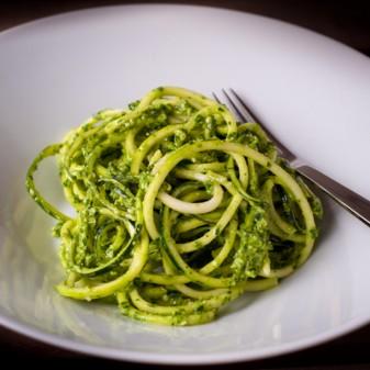 Chef Mary Hulbert Raw zucchini pasta with lemon herb pesto dairy free gluten free vegan
